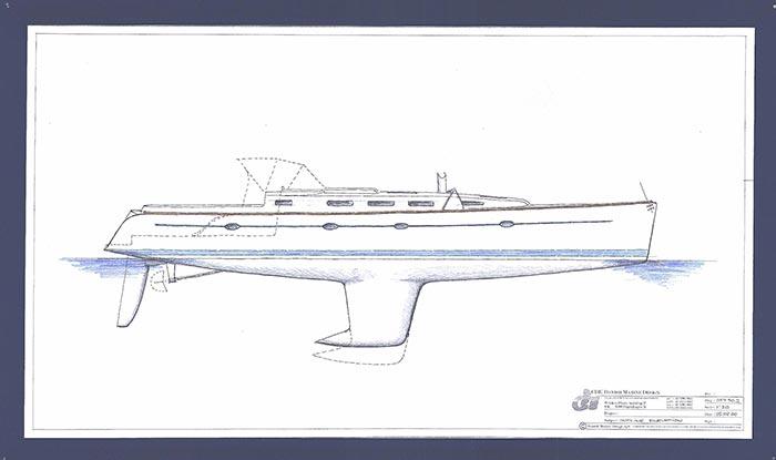 Design af sejlbåd skitsering