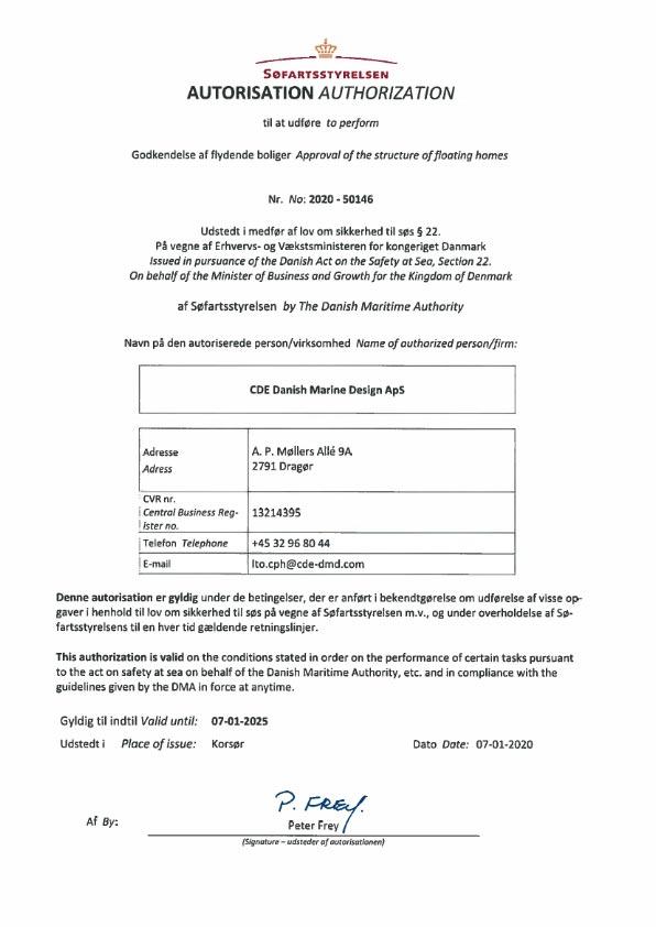 Godkendelse af flydende boliger certifikat 2020